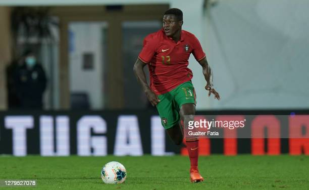 Nuno Mendes of Portugal U21 & Sporting CP in action during the UEFA Euro Under 21 Qualifier match between Portugal U21 and Norway U21 at Estadio...
