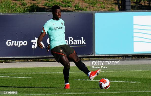 Nuno Mendes of Sporting CP and Portugal in action during the Portugal National Team Training Session at Cidade do Futebol FPF on August 30, 2021 in...