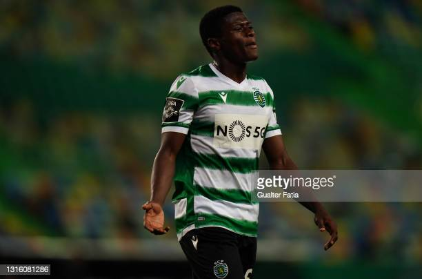 Nuno Mendes of Sporting CP during the Liga NOS match between Sporting CP and CD Nacional at Estadio Jose Alvalade on May 1, 2021 in Lisbon, Portugal.