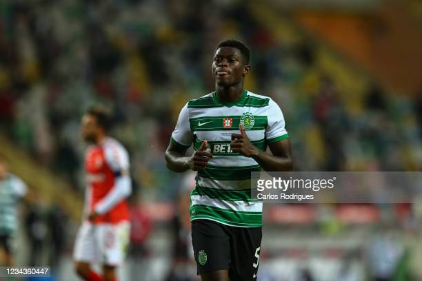 Nuno Mendes of Sporting CP during the Portuguese SuperCup match between Sporting CP v SC Braga at Estadio Municipal de Aveiro on July 31, 2021 in...
