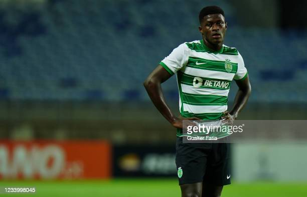 Nuno Mendes of Sporting CP during the Pre-Season Friendly match between Sporting CP and Belenenses SAD at Estadio Algarve on July 15, 2021 in Loule,...