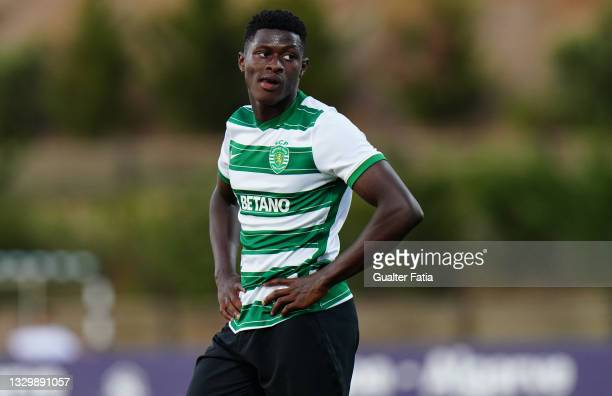 Nuno Mendes of Sporting CP during the Pre-Season Friendly match between Sporting CP and Angers at Estadio Municipal Da Bela Vista on July 20, 2021 in...