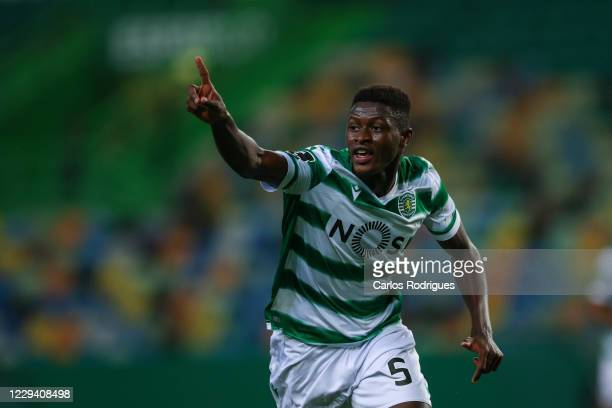Nuno Mendes of Sporting CP gestures during the Liga NOS round six match between Sporting CP and CD Tondela at Estadio Jose Alvalade on November 1,...