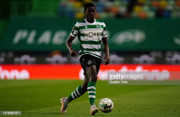 Nuno Mendes of Sporting CP in action during the Liga NOS match between Sporting CP and CD Nacional at Estadio Jose Alvalade on May 1, 2021 in Lisbon,...