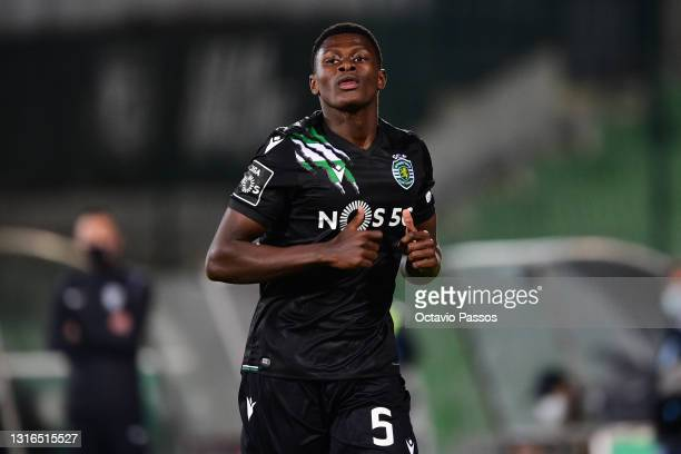 Nuno Mendes of Sporting CP in action during the Liga NOS match between Rio Ave FC and Sporting CP at the Rio Ave FC - Dos Arcos stadium in Vila do...