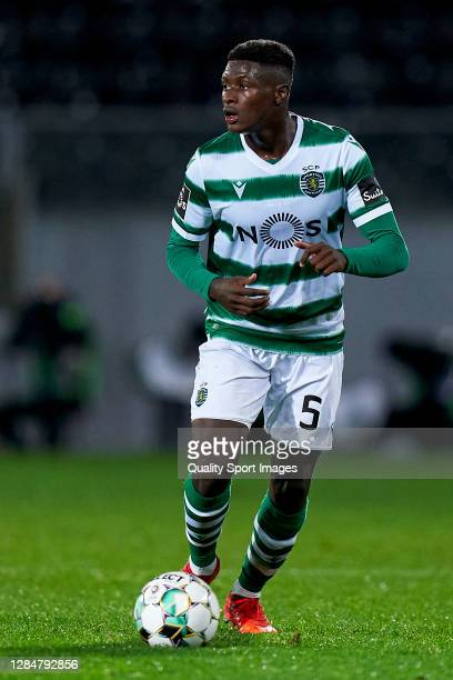 Nuno Mendes of Sporting CP in action during the Liga NOS match between Vitoria Guimaraes SC and Sporting CP at Estadio Dom Afonso Henriques on...