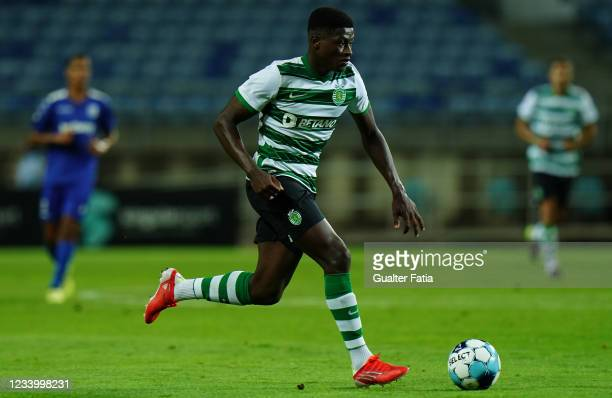 Nuno Mendes of Sporting CP in action during the Pre-Season Friendly match between Sporting CP and Belenenses SAD at Estadio Algarve on July 15, 2021...