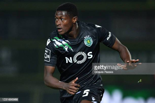 Nuno Mendes of Sporting in action during the Liga NOS match between CD Tondela and Sporting CP at Estadio Joao Cardoso on March 13, 2021 in Tondela,...