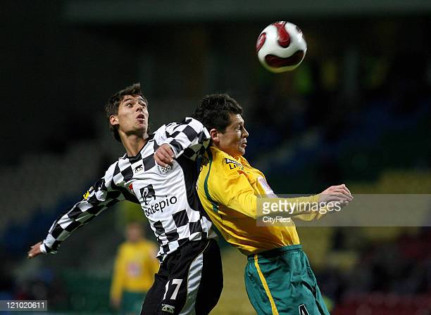 Nuno Pinto and Anderson Polga during a Portuguese Bwin League 16th round match between Boavista and Sporting in Porto Portugal on January 28 2007