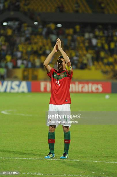 Nuno Reis from Portugal greets the crowd after the match between Argentina and Portugal as part of the U20 World Cup Colombia 2011 at Jaime Moron...