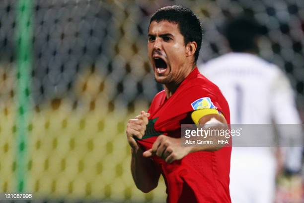 Nuno Reis of Portugal celebrates during the penalty shootout at the FIFA U20 World Cup 2011 quarter final match between Portugal and Argentina at...