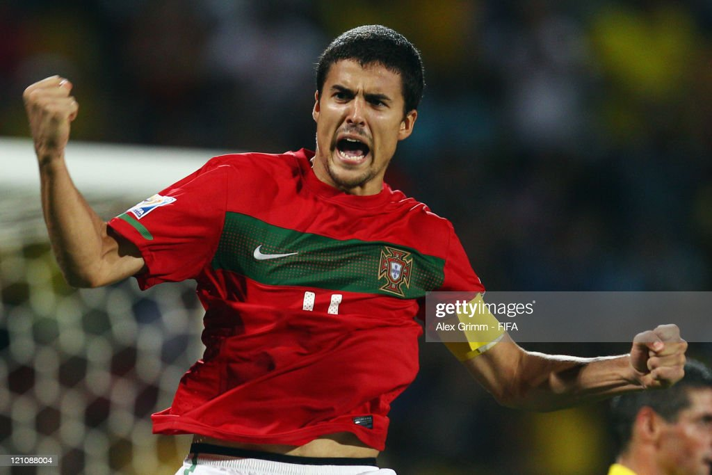 Nuno Reis of Portugal celebrates during the penalty shoot-out at the FIFA U-20 World Cup 2011 quarter final match between Portugal and Argentina at Estadia Jaime Moron Leon on August 13, 2011 in Cartagena, Colombia.