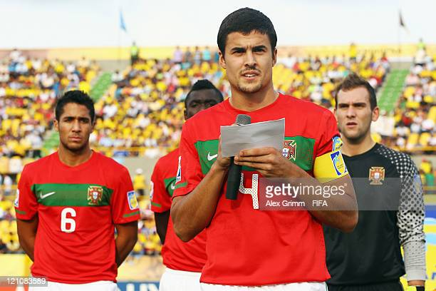 Nuno Reis of Portugal reads his team's fair play message before the FIFA U20 World Cup 2011 quarter final match between Portugal and Argentina at...