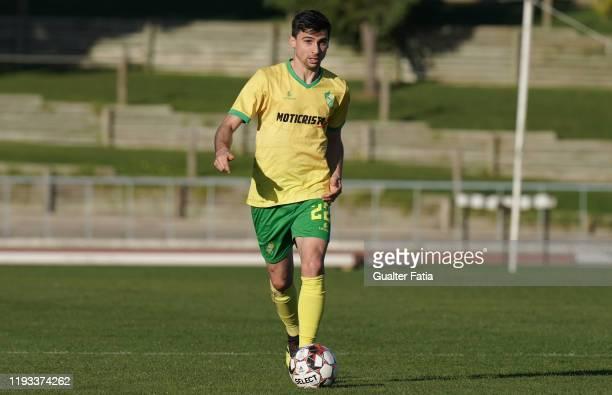 Nuno Rodrigues of CD Mafra in action during the Liga Pro match between CD Mafra and UD Vilafranquense at Estadio do Parque Desportivo Municipal de...