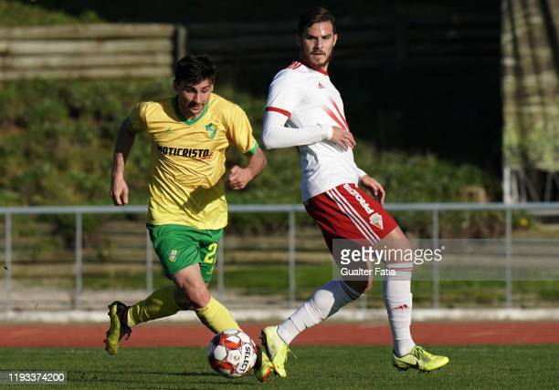 Nuno Rodrigues of CD Mafra with Denis Martins of UD Vilafranquense in action during the Liga Pro match between CD Mafra and UD Vilafranquense at...
