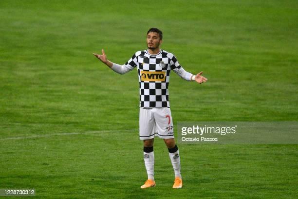 Nuno Santos of Boavista FC reacts during the Liga NOS match between Boavista FC and FC Porto at Estadio do Bessa on September 26, 2020 in Porto,...