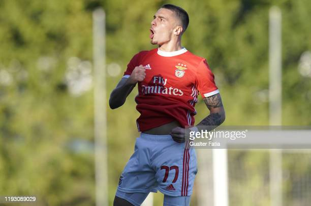 Nuno Santos of SL Benfica B celebrates after scoring a goal during the Liga Pro match between SL Benfica B and Casa Pia AC at Benfica Campus on...