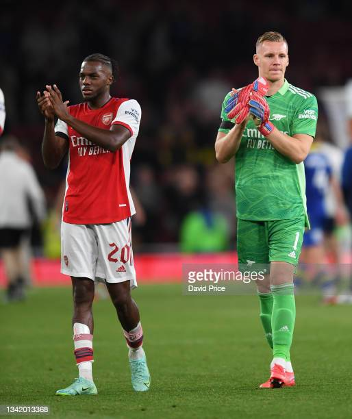 Nuno Tavares and Bernd Leno of Arsenal clap the fans after the Carabao Cup Third Round match between Arsenal and AFC Wimbledon at Emirates Stadium on...