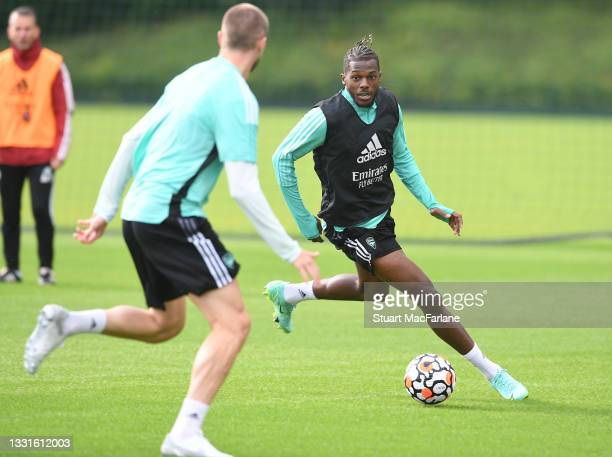 Nuno Tavares of Arsenal during a training session at London Colney on July 30, 2021 in St Albans, England.