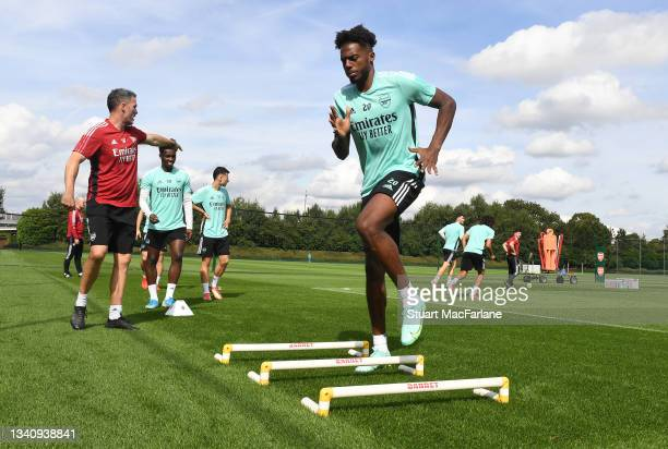 Nuno Tavares of Arsenal during a training session at London Colney on September 17, 2021 in St Albans, England.