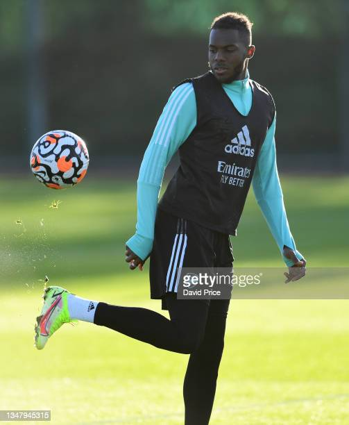 Nuno Tavares of Arsenal during the Arsenal 1st team training session at London Colney on October 21, 2021 in St Albans, England.