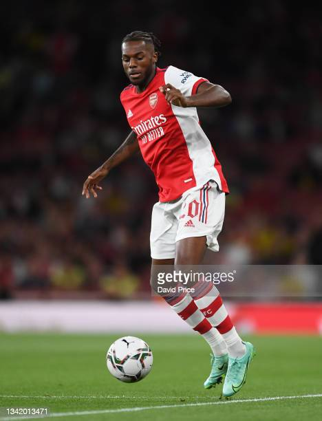 Nuno Tavares of Arsenal during the Carabao Cup Third Round match between Arsenal and AFC Wimbledon at Emirates Stadium on September 22, 2021 in...
