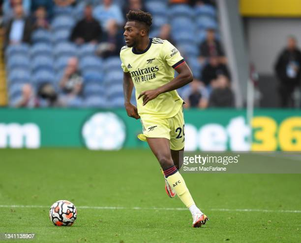 Nuno Tavares of Arsenal during the Premier League match between Burnley and Arsenal at Turf Moor on September 18, 2021 in Burnley, England.