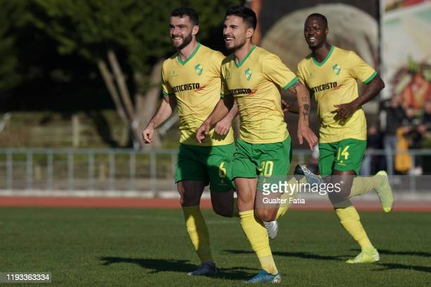 Nuno Tavares of CD Mafra celebrates after scoring a goal during the Liga Pro match between CD Mafra and UD Vilafranquense at Estadio do Parque...
