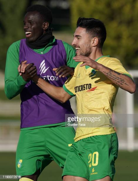 Nuno Tavares of CD Mafra celebrates with teammate Flavio Silva of CD Mafra after scoring a goal during the Liga Pro match between CD Mafra and UD...
