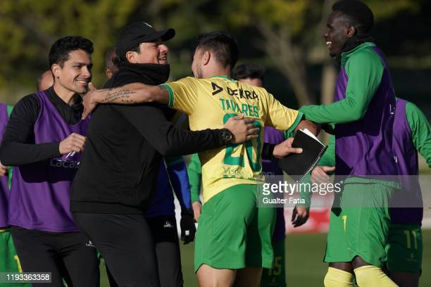 Nuno Tavares of CD Mafra celebrates with teammates after scoring a goal during the Liga Pro match between CD Mafra and UD Vilafranquense at Estadio...
