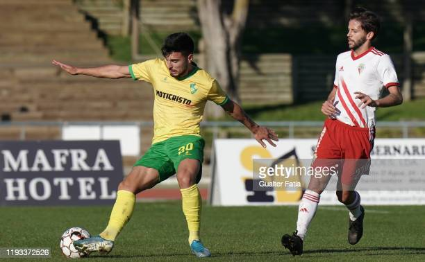 Nuno Tavares of CD Mafra with Pepo of UD Vilafranquense in action during the Liga Pro match between CD Mafra and UD Vilafranquense at Estadio do...
