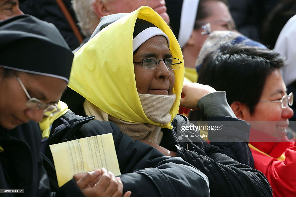 Nuns attend Pope Francis' weekly audience in St. Peter's Square on March 4, 2015 in Vatican City, Vatican. Speaking to the crowds gathered in St Peter's Square for the weekly General Audience the Pope continued in his series of teachings on the family, focusing this time on the role of grandparents.