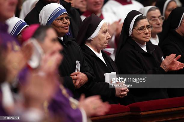 Nuns attend the Ash Wednesday service held by Pope Benedict XVI at St Peter's Basilica on February 13 2013 in Vatican City Vatican Ash Wednesday...