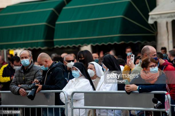 Nuns attend the funeral ceremony of the Calabria regional governor Jole Santelli held at St. Nicholas Church in Cosenza. A funeral ceremony of the...