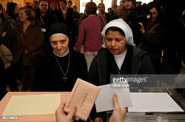 Nuns cast their vote at a polling station on March 9 2008 in Madrid Spain Spaniards are flocking to the polls today after a stinging election...