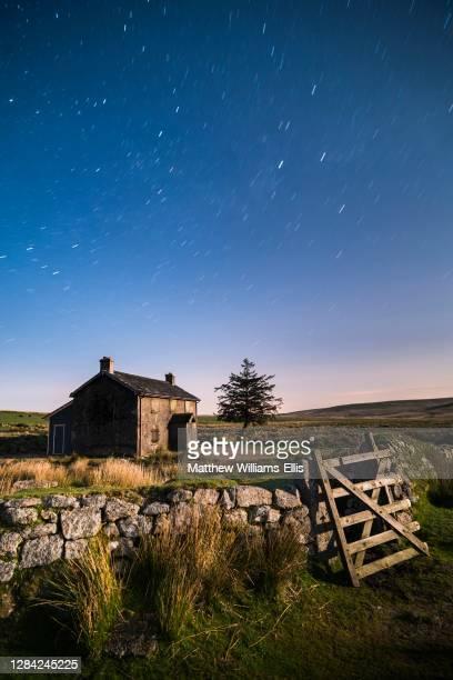Nuns Cross Farm under stars, Dartmoor National Park, Devon, England, United Kingdom, Europe.