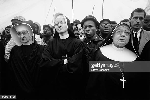 Nuns participate in the Selma to Montgomery Civil Rights March with Dr Martin Luther King Jr