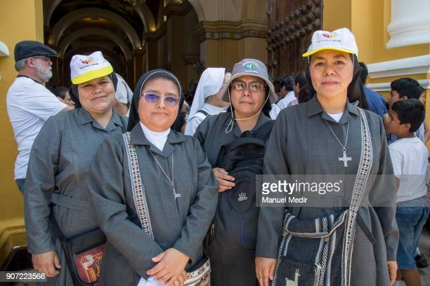 Nuns pose for a photo in the entrance of Trujillo Cathedral during Pope Francis 4day apostolic visit to Peru on January 19 2018 in Trujillo Peru