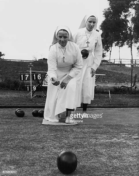 Nuns Sister Edward and Sister Andrea playing bowls during a break from ward duty at Mount St Margaret's Hospital in Ryde New South Wales Australia...