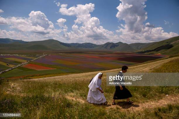 Nuns visit the fields of blooming lentil and poppies flowers during the annual blossom, on July 3, 2020 in Castelluccio di Norcia, Italy....