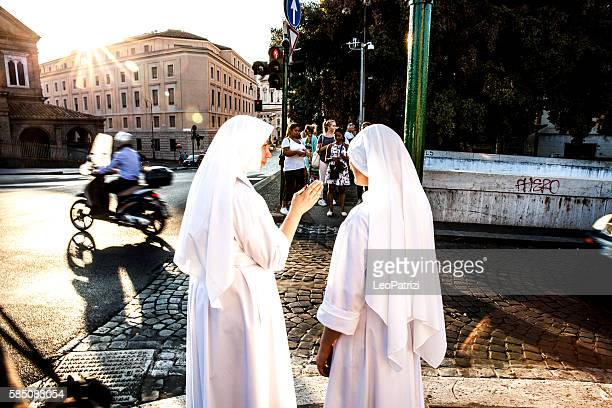 Nuns walking in Central Rome, close to Vatican City