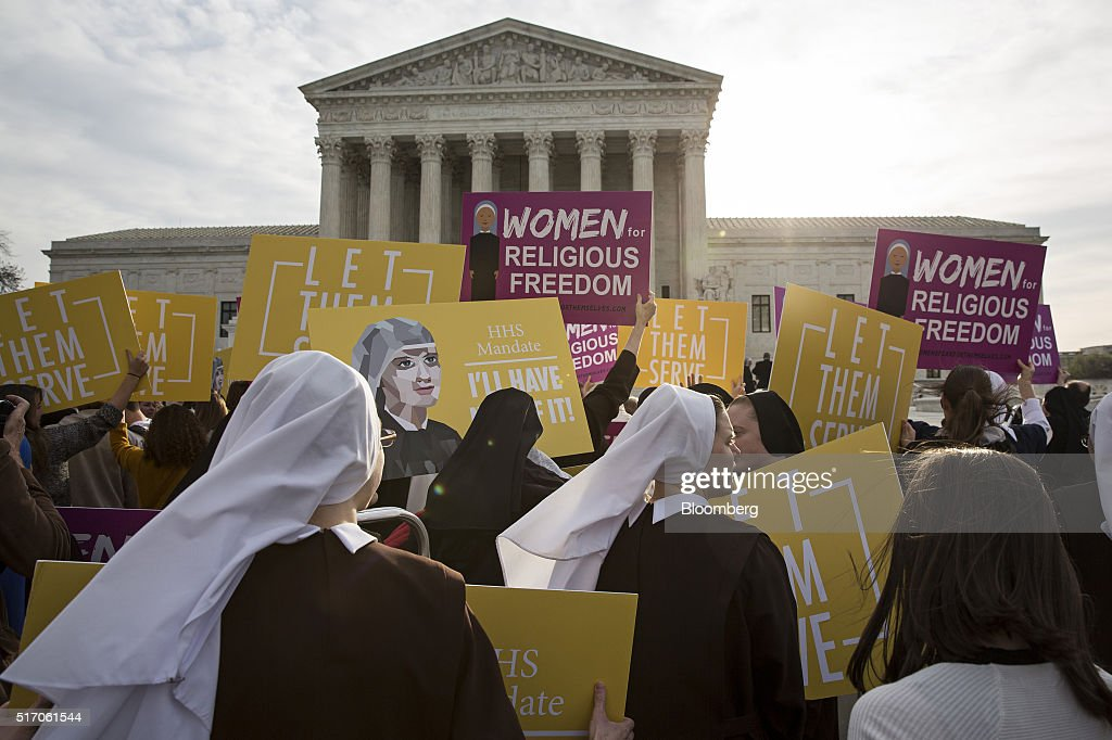 Supreme Court Hears Arguments In The Obamacare Contraception Case : News Photo