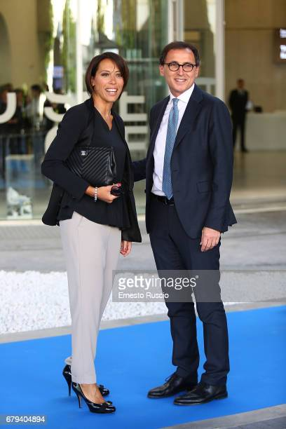 Nunzia De Girolamo and Francesco Boccia attend President Mattarella Visits Maxxi Museum at Maxxi Museum on May 5 2017 in Rome Italy