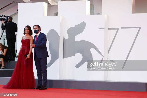 "Nunzia De Girolamo and Francesco Boccia walk the red carpet ahead of the movie ""Padrenostro"" at the 77th Venice Film Festival at on September 04,..."