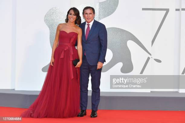 "Nunzia De Girolamo, Francesco Boccia walks the red carpet ahead of the movie ""Padrenostro"" at the 77th Venice Film Festival at on September 04, 2020..."