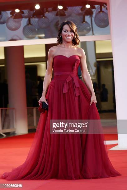 "Nunzia De Girolamo walks the red carpet ahead of the movie ""Padrenostro"" at the 77th Venice Film Festival at on September 04, 2020 in Venice, Italy."