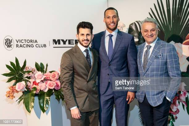 Nunzio Bagnato, Josh Gibson and Dom Bagnato attends the 2018 Myer Spring Fashion Lunch at Flemington Racecourse on September 12, 2018 in Melbourne,...