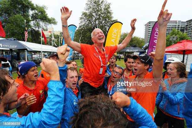 Nuon Solar Team from the Delft University of Technology, Netherlands team members celebrate in a make shift paddle pool after taking overall victory...