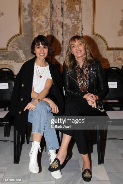 Nur Bilen Yavuzer and Isin Gormus attend the Asli Filinta show during MercedesBenz Fashion Week Istanbul March 2019 at Zorlu Center on March 20 2019...