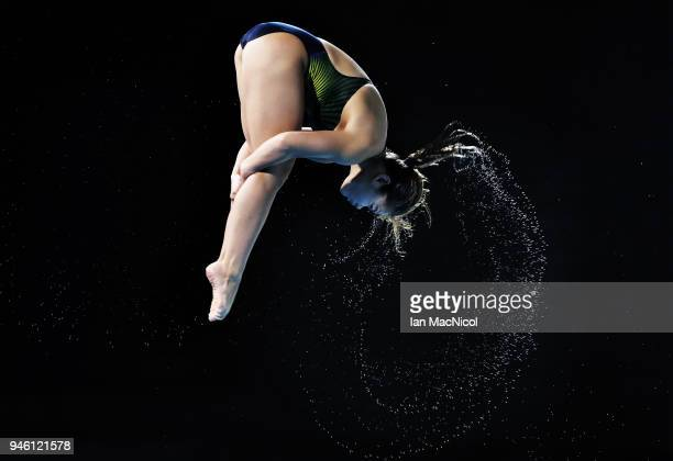 Nur Dhabitah Sabri of Malaysia competes in the Women's 3m Springboard final during Diving on day 10 of the Gold Coast 2018 Commonwealth Games at...
